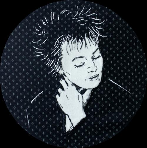 Laurie Anderson- textile portrait- by Bridgeen Gillespie
