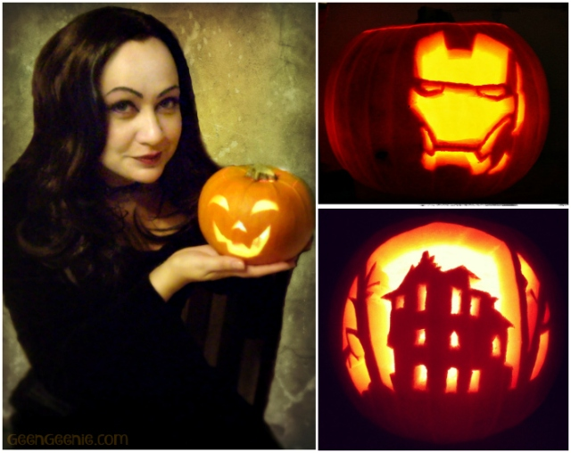 Me as Morticia and my first pumpkin, IronMan Pumpkin & Last Year's Bates Motel Haunted House