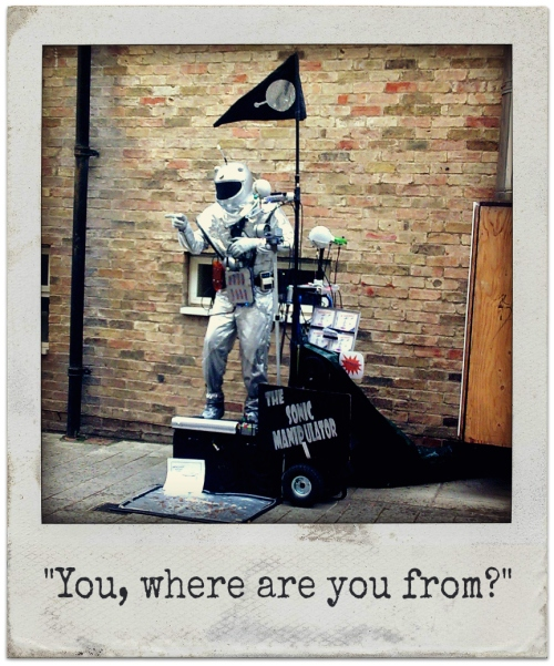 Spaceman street performer Cambridge 2009